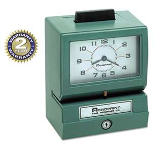 ACRO PRINT TIME RECORDER Model 125 Analog Manual Print Time Clock with Month/Date/0-12 Hours/Minutes