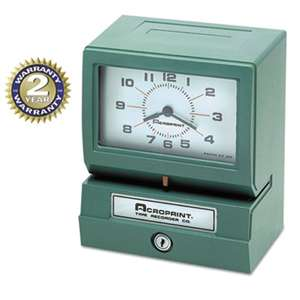 ACRO PRINT TIME RECORDER Model 150 Analog Automatic Print Time Clock with Month/Date/0-23 Hours/Minutes