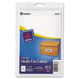 AVERY-DENNISON Removable Multi-Use Labels, 1 x 3, White, 250/Pack