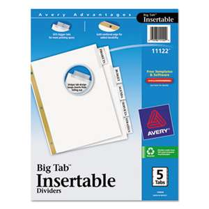 AVERY-DENNISON Insertable Big Tab Dividers, 5-Tab, Letter