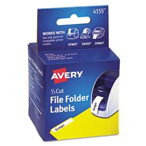 AVERY-DENNISON Thermal Printer File Folder Labels, 1/3 Cut, White, 130/Roll, 2 Rolls
