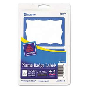 AVERY-DENNISON Printable Self-Adhesive Name Badges, 2-11/32 x 3-3/8, Blue Border, 100/Pack