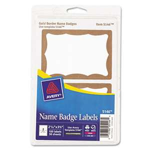 AVERY-DENNISON Printable Self-Adhesive Name Badges, 2-11/32 x 3-3/8, Gold Border, 100/Pack