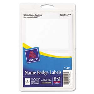 AVERY-DENNISON Printable Self-Adhesive Name Badges, 2-11/32 x 3-3/8, White, 100/Pack