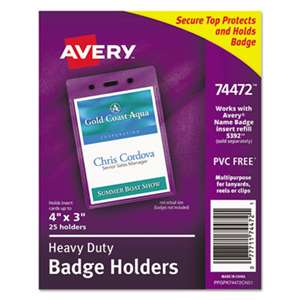 AVERY-DENNISON Secure Top Heavy-Duty Badge Holders, Vertical, 3w x 4h, Clear, 25/Pack