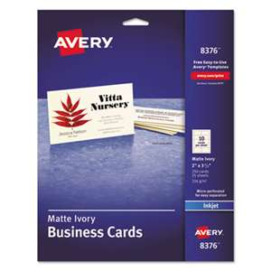 AVERY-DENNISON Printable Microperf Business Cards, Inkjet, 2 x 3 1/2, Ivory, Matte, 250/Pack