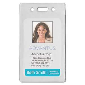 ADVANTUS CORPORATION Proximity ID Badge Holder, Vertical, 2 3/8w x 3 3/8h, Clear, 50/Pack