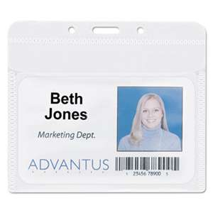 "ADVANTUS CORPORATION PVC-Free Badge Holders, Horizontal, 4"" x 3"", Clear, 50/Pack"