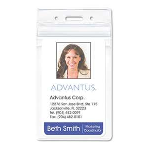 "ADVANTUS CORPORATION PVC-Free Badge Holders, Vertical, 3"" x 4"", Clear, 50/Pack"