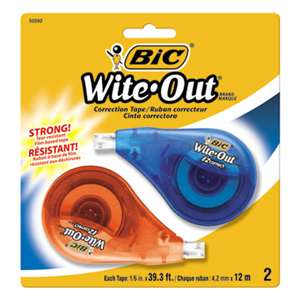 "BIC CORP. Wite-Out EZ Correct Correction Tape, Non-Refillable, 1/6"" x 472"", 2/Pack"