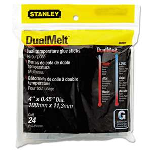 "STANLEY BOSTITCH Dual Temperature Glue Sticks, 4"" Long, Clear, 24/Pack"