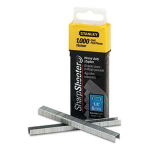 "STANLEY BOSTITCH SharpShooter Heavy-Duty Tacker Staples, 1/4"" Leg Length, 1000/Box"