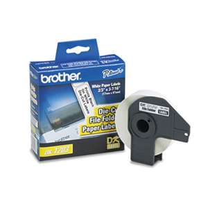 "BROTHER INTL. CORP. Die-Cut File Folder Labels, 0.66"" x 3-2/5"", White, 300/Roll"
