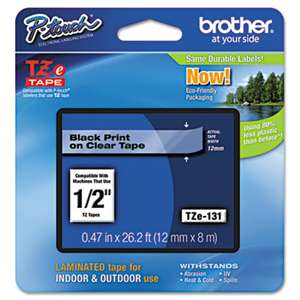 Brother P-Touch TZE131 TZe Standard Adhesive Laminated Labeling Tape, 1/2w, Black on Clear
