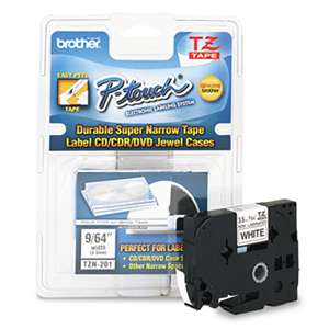 Brother P-Touch TZEN201 TZ Super-Narrow Non-Laminated Tape for P-Touch Labeler, 1/8w, Black on White