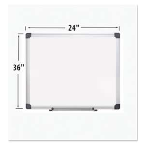 BI-SILQUE VISUAL COMMUNICATION PRODUCTS INC Porcelain Value Dry Erase Board, 24 x 36, White, Aluminum Frame