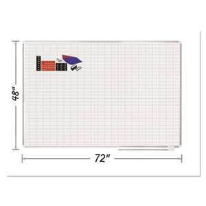 "BI-SILQUE VISUAL COMMUNICATION PRODUCTS INC Grid Planning Board w/ Accessories, 1x2"" Grid, 72x48, White/Silver"
