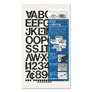 "CHARTPAK/PICKETT Press-On Vinyl Letters & Numbers, Self Adhesive, Black, 1""h, 88/Pack"
