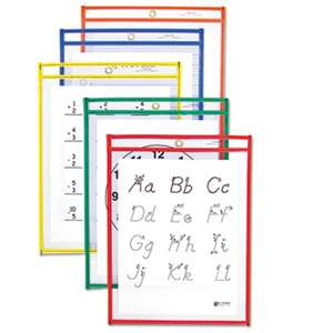 C-LINE PRODUCTS, INC Reusable Dry Erase Pockets, 9 x 12, Assorted Primary Colors, 10/Pack