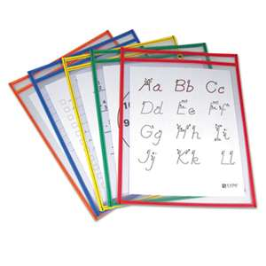 C-LINE PRODUCTS, INC Reusable Dry Erase Pockets, 9 x 12, Assorted Primary Colors, 5/Pack