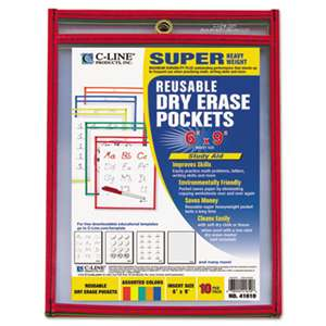 C-LINE PRODUCTS, INC Reusable Dry Erase Pockets, 6 x 9, Assorted Primary Colors, 10/Pack