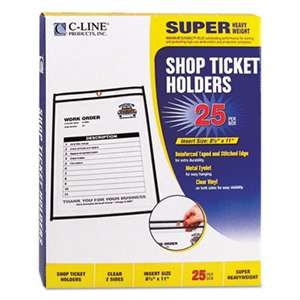 "C-LINE PRODUCTS, INC Shop Ticket Holders, Stitched, Both Sides Clear, 50"", 8 1/2 x 11, 25/BX"