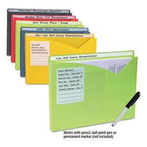 "C-LINE PRODUCTS, INC Write-On Expanding Poly File Folders, 1"" Exp., Letter, Assorted Colors, 10/BX"