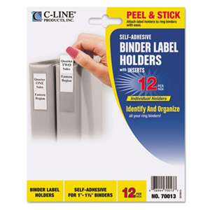 C-LINE PRODUCTS, INC Self-Adhesive Ring Binder Label Holders, Top Load, 3/4 x 2-1/2, Clear, 12/Pack