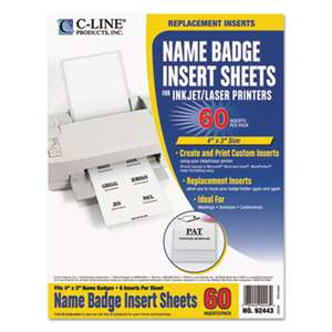 C-LINE PRODUCTS, INC Name Badge Inserts, 4 x 3, White, 60/Pack