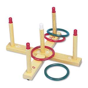 CHAMPION SPORT Ring Toss Set, Plastic/Wood, Assorted Colors, 4 Rings/5 Pegs/Set
