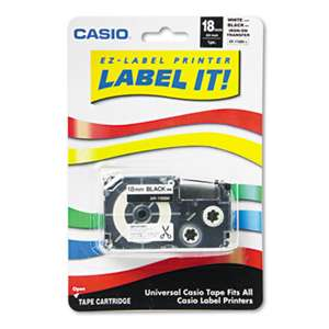 CASIO, INC. Label Printer Iron-On Transfer Tape, 18mm, Black on White