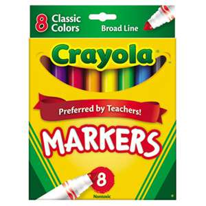 BINNEY & SMITH / CRAYOLA Non-Washable Markers, Broad Point, Classic Colors, 8/Set