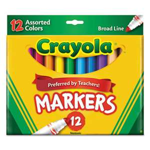 BINNEY & SMITH / CRAYOLA Non-Washable Markers, Broad Point, Assorted Colors, 12/Set