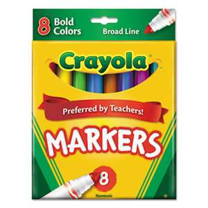 BINNEY & SMITH / CRAYOLA Non-Washable Markers, Broad Point, Bold Colors, 8/Set