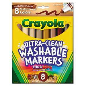 BINNEY & SMITH / CRAYOLA Washable Markers, Conical Point, Multicultural Colors, 8/Pack