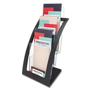 DEFLECTO CORPORATION Three-Tier Leaflet Holder, 6 3/4w x 6 15/16d x 13 5/16h, Black