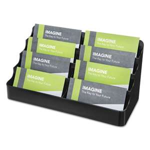 deflecto 90804 Recycled Business Card Holder, Holds 400 2 x 3 1/2 Cards, Eight-Pocket, Black