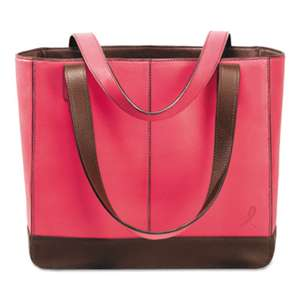 DAYTIMER'S INC. Pink Ribbon Leather Tote, 11 1/2 x 4 x 10, Pink/Chocolate