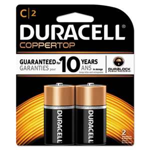 Duracell MN1400B2Z CopperTop Alkaline Batteries with Duralock Power Preserve Technology, C, 2/Pk