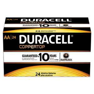 Duracell MN1500B24 CopperTop Alkaline Batteries with Duralock Power Preserve Technology, AA, 24/Box
