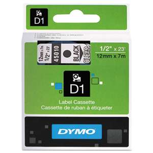 DYMO 45010 D1 Polyester High-Performance Removable Label Tape, 1/2in x 23ft, Black on Clear