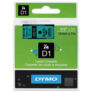 DYMO 45019 D1 Polyester High-Performance Removable Label Tape, 1/2in x 23ft, Black on Green