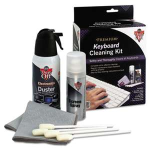 "FALCON SAFETY Premium Keyboard Cleaning Kit, 50 mL Bottle, 5 1/4"" x 7 1/2"" Cloth, 4 Swabs"