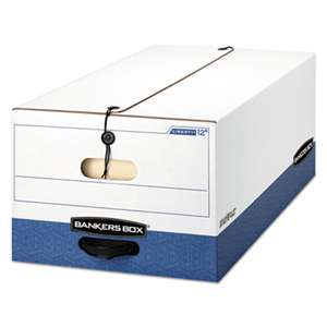 FELLOWES MFG. CO. LIBERTY Heavy-Duty Strength Storage Box, Legal, White/Blue, 4/Carton