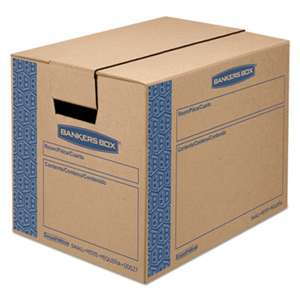 FELLOWES MFG. CO. SmoothMove Prime Small Moving Boxes, 16l x 12w x 12h, Kraft/Blue, 10/Carton