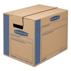 FELLOWES MFG. CO. SmoothMove Prime Small Moving Boxes, 16l x 12w x 12h, Kraft/Blue, 15/CT