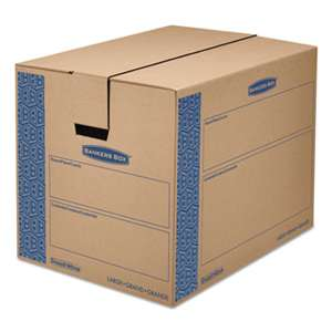 FELLOWES MFG. CO. SmoothMove Prime Large Moving Boxes, 24l x 18w x 18h, Kraft/Blue, 6/Carton
