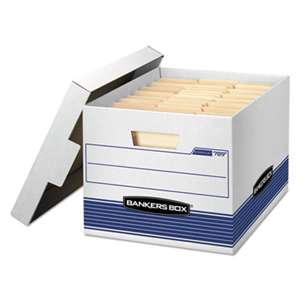 FELLOWES MFG. CO. STOR/FILE Med-Duty Letter/Legal Storage Boxes, Locking Lid, White/Blue, 12/CT
