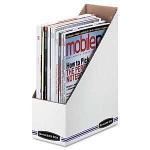 FELLOWES MFG. CO. Corrugated Cardboard Magazine File, 4 x 9 1/4 x 11 3/4, White, 12/Carton