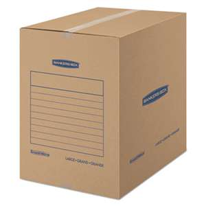 FELLOWES MFG. CO. SmoothMove Basic Large Moving Boxes, 18l x 18w x 24h, Kraft/Blue, 15/Carton